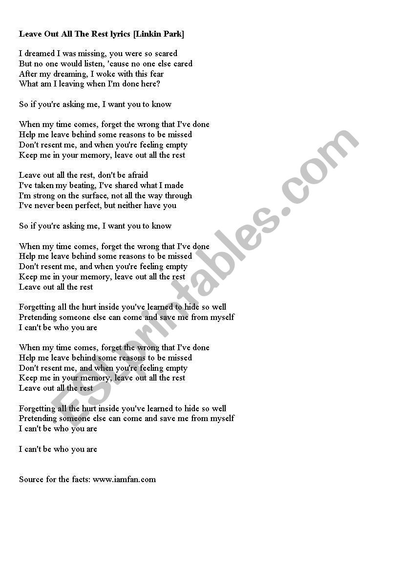Song Leave Out All The Rest Linkin Park Printer Friendly